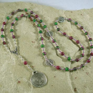 Ariadne Prayer Bead Necklace in Ruby in Zoisite: Greek Goddess, Mistress of the Labyrinth