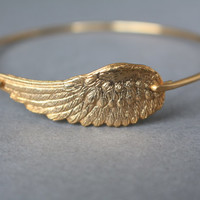 Gold Angel Wing Bracelet, Angel Wing Jewelry, Wing Jewelry, Angel Wing Bracelet, Gold Bangle Bracelet, Gold Bracelet, Stacking Bangles