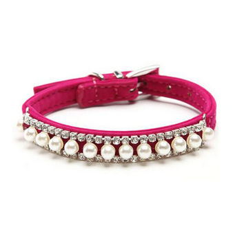Luxury Pet Rhinestone Dog Cat Collar Crystal Diamond Beads Pearl Collars for Small Medium Diva Dogs Soft Leather Necklace Pink