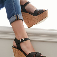 Strappy Cork-Sole Platform Wedges