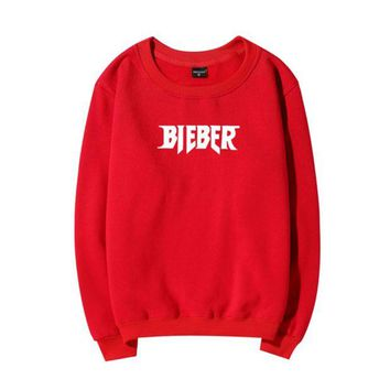 DCCKB62 BIEBER Fashion Casual Long Sleeve Pullover Print Sweater