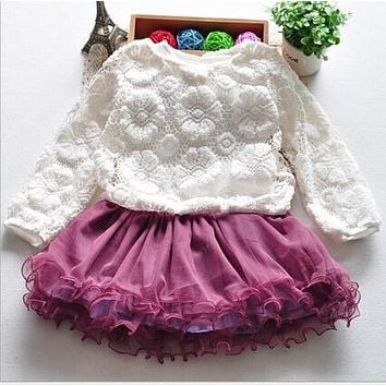2016 summer Baby Girl clothes sets lace baby set cake Dress Baby kids Set Vestido mesh Newborn Baby Girl Clothes Set 2pc toddler