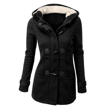 women thick wool coat hoodie jacket parka trench peacoat double breasted warm clothes 4 colors JFY66