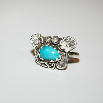Flowers and Turquoise Silver Plated -Turquoise Vintage Native Inspired Ring Size 6.5 | FREE ship US