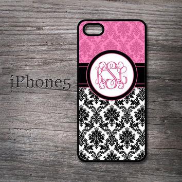 Black and Pink damask iphone case chic monogrammed hard cover for new iPhone 5