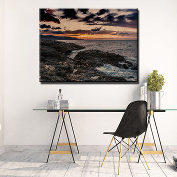 Waves and Sunset Wooden Wall Decor