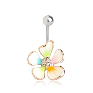 Gold Navel Ring Enamel Esmalte Crystal Body Feminino Umbigo Body Piercing Flower Helix Surgical Steel Jewelry Tunnels Belly Ring