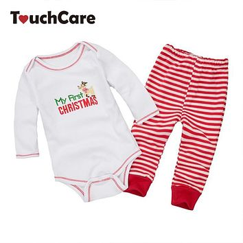 Cute Baby Boys Girls Rompers And Pants Pajama Clothing Set Kids Infant Clothing Christmas Set Kids Jumpsuit Girls Clothes
