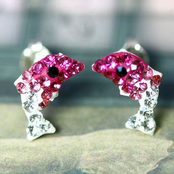 Pink earrings,Crystal Earrings,Crystal Stud Earrings,Whale earrings,Lucky earrings,Silver earrings,Silver Stud,Swarovski earring,Swarovski