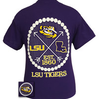 Louisiana State LSU Tigers Arrow Pearls Girlie Bright T Shirt