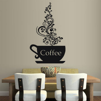 rvz1791 Wall Vinyl Sticker Kitchen Decal Coffee Curly Cup Hot