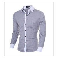 US Size XS-L High Quality 2014 New Fashion Men Slim Shirts Man Casual Long Sleeve Cotton Shirt Male Spring Autumn Tops Undershirt Clothing [9210702083]