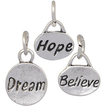 Charm Set Hope Dream Believe Silver Plate