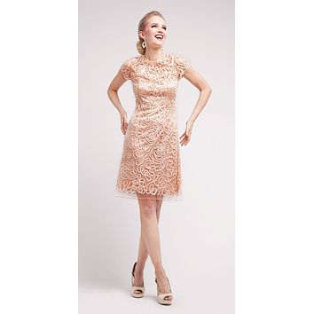 Semi Formal Knee Length Lace Peach Dress Short Sleeve