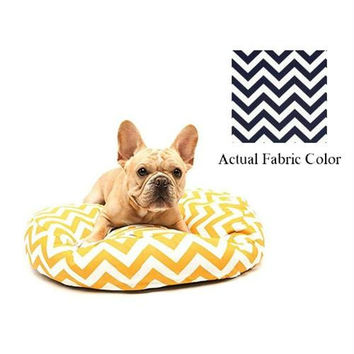 Small Dog Bed - Navy And White Chevron
