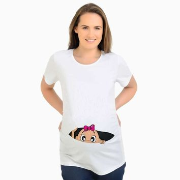 Maternity Tops Tees For Pregnant Women Short Sleeve Pregnant T shirt With Baby Girl Print Tees Funny Pregnancy T-shirts