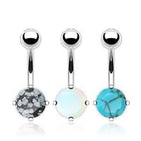 316L Stainless Steel Value Pack of Stone Prong Set Navel Belly Ring