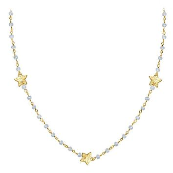 "CHG-198-RM-18"" 18K Gold Overlay Necklace With Rainbow Moonstone"