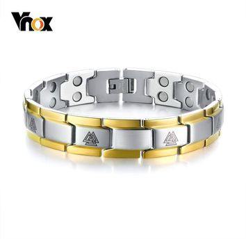 Vnox Men's Double Row Magnets Energy Bracelet Magnetic Healing Watch Bands Bracelets Bangles with Viking Charm