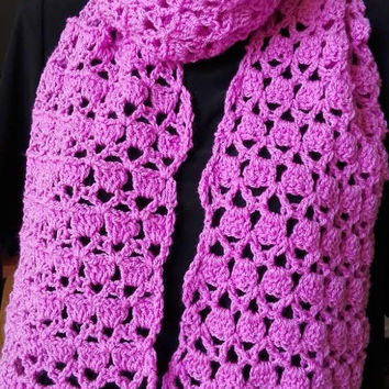 Pink crochet scarf, winter scarf, mom gift, girl gift, crochet scarf, handmade scarf, pink scarf, pink autumn scarf, mother gift, diy