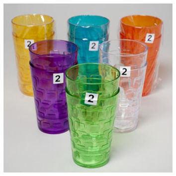 Tumblers Glass-Look 6 Colors 2Pk 18Oz