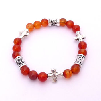Carnelian Silver Plated Cross Beaded Gemstone Stretch Bracelet Fall Fashion Jewelry