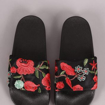 Qupid Floral Embroidery Slide
