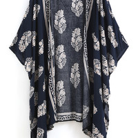 Fall Fashion Navy Vintage Floral Loose Kimono