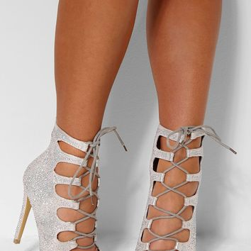 Kimberley Silver Diamante Lace Up Heels | Pink Boutique