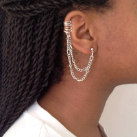 Silver Cuff Earring with Chain