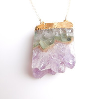 Amethyst Druzy Necklace : February Birthstone, Similar Featured in an Etsy Newsletter