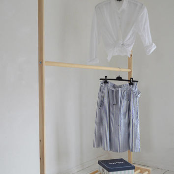 Hand Made, Pine Wood, Two Rails for Clothes with Shelf and WHEELS!