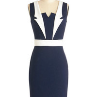 ModCloth Nautical Mid-length Sleeveless Bodycon Lapel in Love Dress