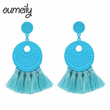 OUMEILY Long Dangle Tassel Earrings For Women Bohemian Party Exaggerated Fashion Jewelry Indian Round Red Fringe Earrings