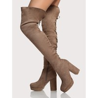 Back Lace Up Platform Thigh High Boots TAUPE