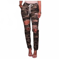 Elastic Waist Distressed Camo Pants