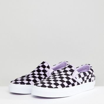 Vans Fluffy Lilac Checkerboard Slip On Sneakers at asos.com