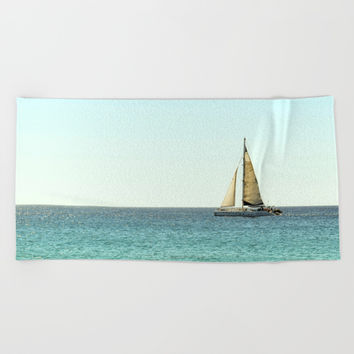 Sail Away with Me - Ocean, Sea, Blue Sky and Summer Sun Beach Towel by Stay Positive Design