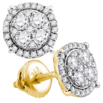 10kt Yellow Gold Womens Round Diamond Circle Cluster Earrings 1/2 Cttw
