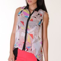 MULTICOLOURED GEOMETRIC PRINTED COLLAR SHIRT @ KiwiLook fashion