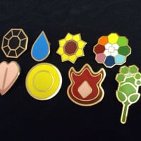 Pokemon Kanto Indigo League Badge Pin Set All 8 Badges