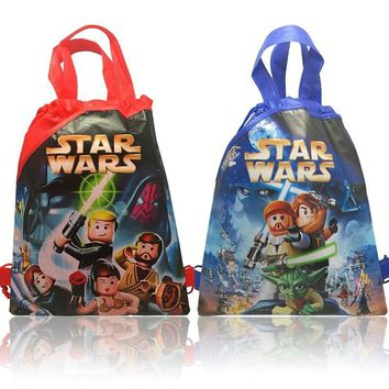 New 1pcs Star Wars Cartoon Drawstring Backpacks 34*27CM Girls Boys party Gifts School Bags shopping bags
