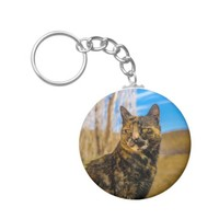 Adult Wild Cat Sitting and Watching Keychain