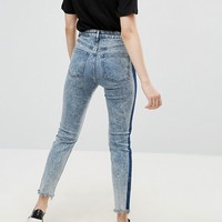 ASOS FARLEIGH High Waist Slim Mom Jeans With Tonal Side Stripe at asos.com
