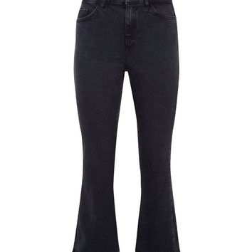 Black Cropped Kick Flare Jeans | New Look