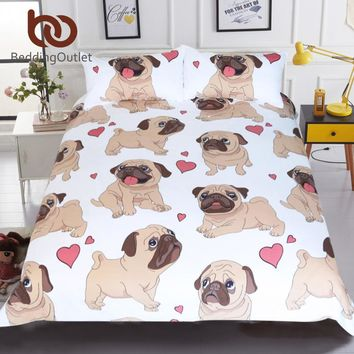 BeddingOutlet Hippie Pug Bedding Set Queen Size Animal Cartoon Bed Set for Kids Cute Bulldog Print Duvet Cover Home Bedclothes