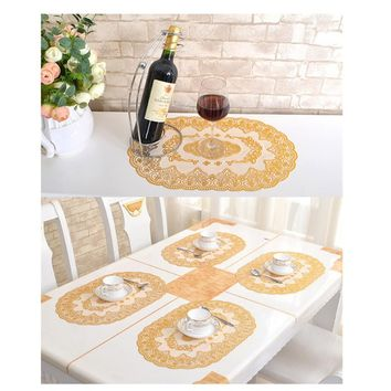1pcs fashion PVC bronzing tablecloths small cup mats home non-slip insulation bowl pad coffee cloth (size: 30 * 45cm)