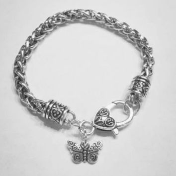 Spiral Butterfly Gift For Girl Daughter Mom Wife Charm Bracelet