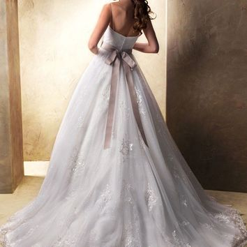 New 2014 Sleeveless Applique Beaded Tulle Wedding Dresses Bridal Gown Custom