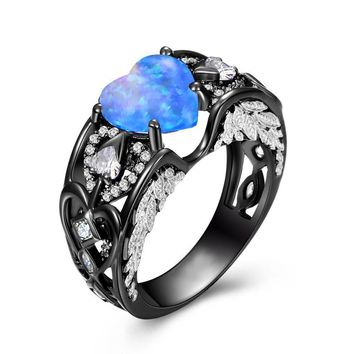 Bamos Blue Fire Opal Heart Engagement Ring Vintage Black Angel Wings Ring Luxury Wedding Rings For Women Punk Jewelry Best Gift